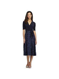 Women's Tea Length Dress With Rosette Detail
