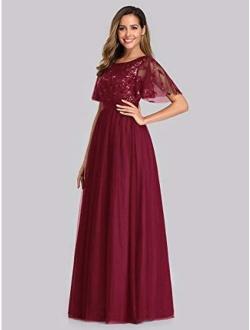 Women's A-line Empire Waist Embroidery Evening Prom Dress 0904