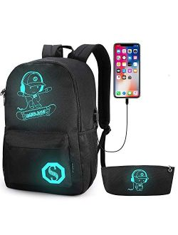 Pawsky Galaxy Backpack for School, Anime Luminous Backpack College Bookbag Anti-Theft Laptop Backpack with USB Charging Port