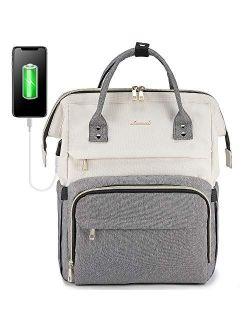 Laptop Backpack For Women Travel Business Computer Bag Purse Bookbag With Usb Port Fits 15.6-inch Laptop Beige Grey