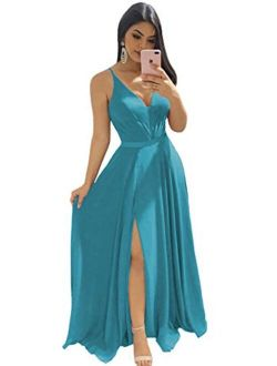Clothfun Women's V-Neck Bridesmaid Dresses for Women Long Simple A-Line Formal Dresses with Slit Cf078