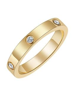 Chrishine Life Love Friendship Ring 18K Gold Plated Silver with Cubic Zirconia Stones Stainless Steel Promise Ring Wedding Band Jewelry Birthday Present for Her Women Tee
