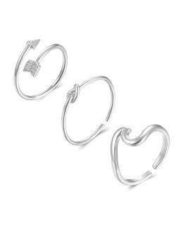 Long tiantian 3 Pcs Simple Adjustable Rings Set for Women Love Knot Arrow Wave Ring Sets Christmas Jewelry Gift for Teen Girls Size 5-12