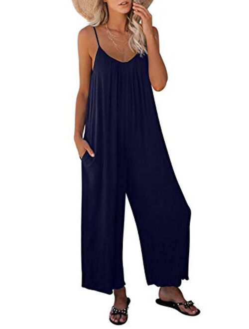 Asyoly Women's Loose Sleeveless Jumpsuits Adjustable Spaghetti Strap Stretchy Long Pant Romper Jumpsuit with Pockets