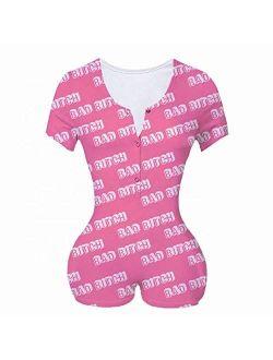 MissShorthair Short Sleeve Onesies Pajamas for Adult Women Shorts Bodycon Sleepwear