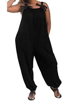 Women's Jumpsuits Casual Solid Color Loose Fit Baggy Harem Overall Jumpsuit Sleeveless Spaghetti Strap Long Pants Rompers