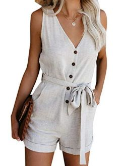 Adibosy Women's V Neck Jumpsuits Casual Sleeveless Romper Button Up Front Tie Knot Solid Short Jumpsuit Rompers