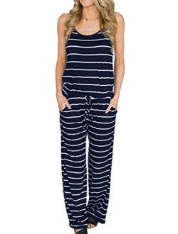 Famulily Women's Comfy Striped One Piece Jumpsuit Loose Sleeveless Wide Leg Long Pants Romper