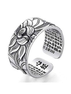Real 925 Sterling Silver Lotus Open Rings for Women Men Gifts Vintage Floral Finger Ring Silver Fashion Party Jewelry Gifts