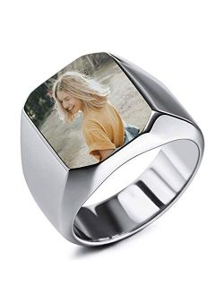 INBLUE Personalized Signet Ring Engraving Color Picture/Black Picture/Blank Custom Photo for Men Boys Women Girls Memorial Stainless Steel Jewelry Bundle with Ring Size A