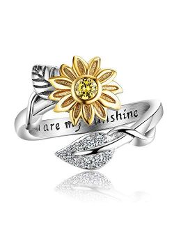 AILAAILA You are My Sunshine Sunflower Ring Stainless Steel Adjustable Cubic Zirconia Jewelry Size 5-10
