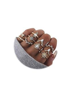 10-15PCS Crystal Knuckle Stacking Rings Set for Women Teen Girls,Bohemian Joint Midi Retro Gem Finger Ring Sets Comfort Fit Size 5 to 9
