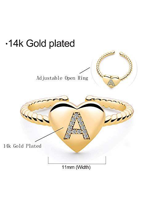 M MOOHAM Stackable Initial Rings for Women Girls, Gold Plated Dainty Heart Capital Letter Initial Rings for Women Teens Girls, Stackable Rings for Girls Engraved Alphabet