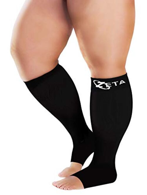 Zeta Socks Open Toe XXXL 26 Inch Wide Calf Plus Size Compression 20-30 mmHg for Fatigue, Pain, Leg Swelling, Soothing Comfy Gradient Support, Prevents Swelling, Pain, Ede