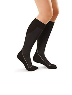 JOBST Sport Knee High 20-30 mmHg Compression Socks, Black/Cool Black, Large