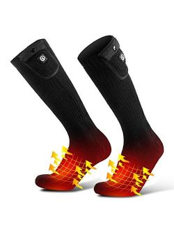 SAVIOR HEAT Upgraded Heated Socks for Men Women, Rechargeable Electric Battery Powered Heating Socks with Temperature Controller Winter Thermal Camping Foot Warmer for Cy