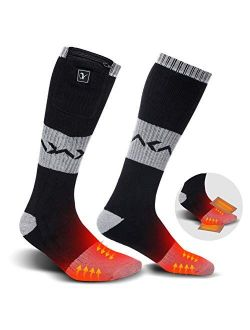 Heated Socks for Men Women, Electric Rechargeable Battery Heating Socks for Winter Sports Arthritis Raynaud Winter Snow Ski Hunting Camping Hiking Riding Warm