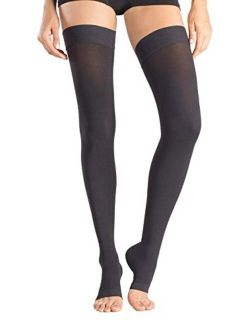 +MD Thigh High Graduated Compression Stockings Open-Toe 23-32mmHg Firm Medical Support Socks for Varicose Veins, Edema