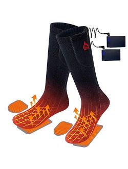 2020 Upgraded Electric Heated Socks,2 Pieces Heating Element 3400mAh Battery Rechargeable Heat Socks for Men Women,3 Heating Temperature Settings for Cold Winter,Hunting