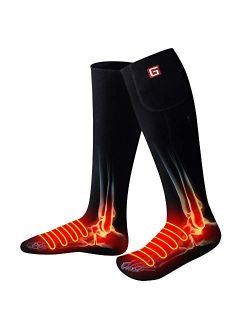 QILOVE Electric Heated Socks with 3.7V Rechargeable Battery Pack-3 Heating Sets Foot Warmers Gifts for Men Women
