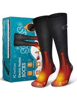 HailiCare Heated Socks for Men Women Rechargeable Electric Socks 4000mAh Battery Washable Heating Socks, 3 Heating Settings Thermal Sock Winter Warm Cotton Socks for Outd
