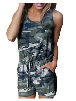 Auxo Women Short Romper Sleeveless Camo Sexy Cute Playsuit Summer Jumpsuit Jumper with Pockets