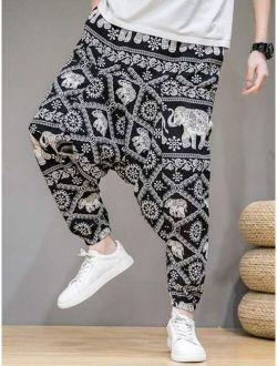 Men Elephant & Argyle Print Harem Pants