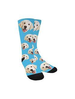 Personalized Face Socks Change Dog Face Size Pup Crew Socks Custom Photo Unisex Blue
