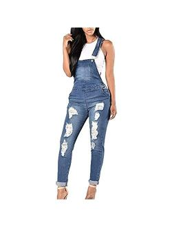 shopping denim Women's Adjustable Strap Slim Fit Ripped Distressed Stretch Long Jumpsuit Denim Bib Overalls Romper