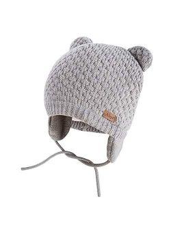 Winter Beanie Hat for Baby Kids Toddler Infant Newborn, Earflap Cute Warm Fleece Lind Knit Cap for Boys Girls (Gray)