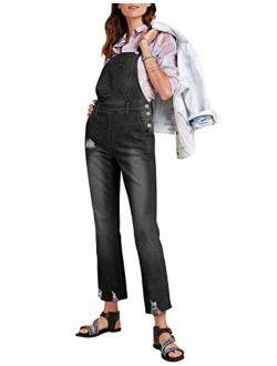 Utyful Women's Classic Adjustable Straps Taper Jeans Denim Bib Overalls