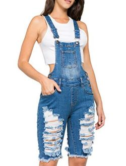 TwiinSisters Women's Front and Back Ripped Slim Curvy Cotton Denim Pants Short Bermuda Overalls Shortalls for Women