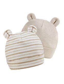 Newborn Hats Baby Boys Girls Beanies Caps 0-6 Months Girls 100% Cotton Unisex 2 Pack