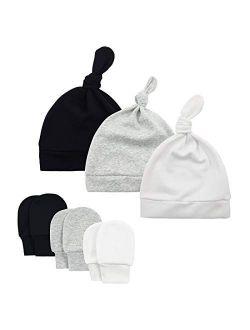 Durio Newborn Baby Hat Mittens Soft Baby Hat and Mittens Set Cute Baby Mittens 0-6 Months Hat Mittens for Baby Girls Boy