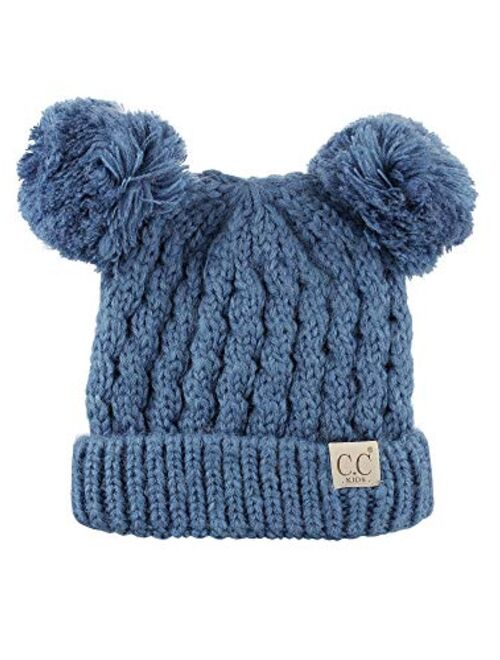 C.C Kids' Children's Cable Knit Double Ear Pom Cuffed Beanie Cap Hat