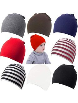 Zomme 8 Pack Baby Infant Beanies Hat Cotton Knit Toddler Newborn Beanies Cap