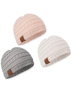 KeaBabies Baby Beanie Winter Hats - 3-Pack Soft Knitted Baby Hat Mittens for Boys, Girls
