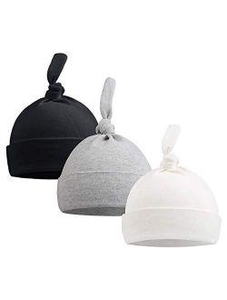 Pesaat Newborn Hospital Knot Hat 0-6 Months Baby Boys Girls Beanie Solid Infant Hats Autumn Winter