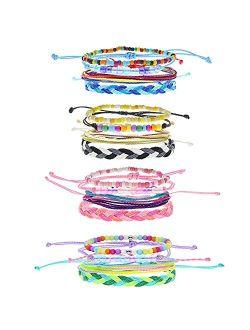 FROG SAC 16 PCS VSCO Bracelets for Teen Girls, Kids Friendship Bracelets for Girls, Party Favors for Teens Girls, Cute VSCO Girl Stuff, VISCO Braided Stretch Friendship B