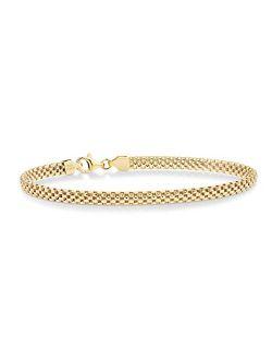 Miabella 18K Gold Over Sterling Silver Italian 4mm Mesh Link Chain Bracelet for Women Teen Girls 6.5, 7, 7.5, 8 Inch 925 Italy