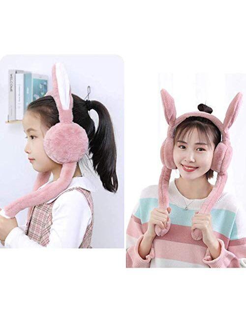 Women's Winter Plush Earwarmer Bunny Earmuffs with Moving Jumping Rabbit Ears Windproof Airbag Ear Bag