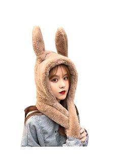 YEKEYI Winter Warm Beanie Pop Up Ears Plush Hat Ear Moving Jumping Rabbit Hat Bunny Cap for Women Girls