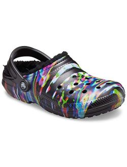 Men's And Women's Classic Tie Dye Lined Clog   Fuzzy Slippers