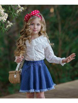 White Collar-Accent Long-Sleeve Top & Denim Skirt - Toddler & Girls