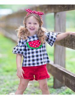 Black Gingham Watermelon Ruffle Short-Sleeve Top & Red Denim Shorts - Toddler & Girls