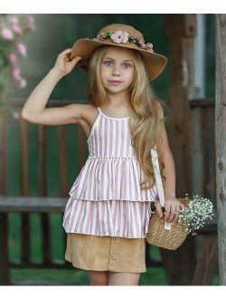 Pink & White Stripe Two-Tier Ruffle-Hem Tank & Tan Circle Skirt - Toddler & Girls