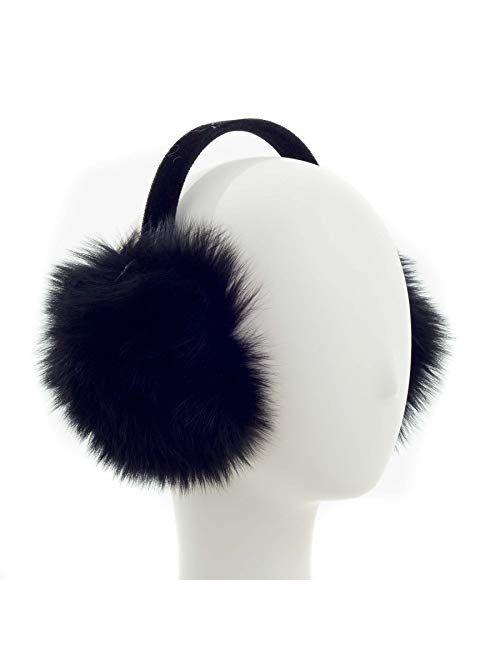 Surell Fox Fur Earmuff with Velvet Band - Winter Ear Muffs - Cold Weather Head Warmer