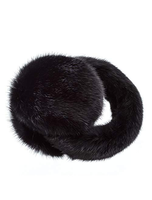 Surell Mink Earmuff with Fur Halo Band - Winter Ear Muffs - Cold Weather Fashion