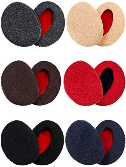 6 Pairs Bandless Ear Warmers Earmuffs Fleece Earmuffs Thick Winter Ear Cover for Men Women
