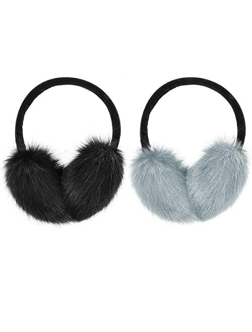 MADHOLLY 2 Pack Faux Fur Earmuffs- Big Winter Outdoor Soft Warm Thick Faux Fur Ear Warmers for Womens Men, Black&Grey